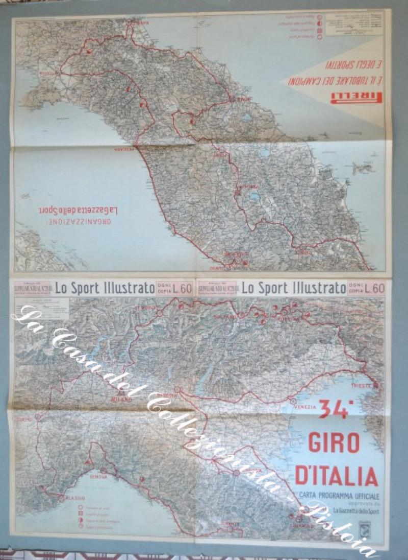 34° GIRO D'ITALIA. ANNO 1951. Supplemento allo Sport illustrato. Carta doppia.