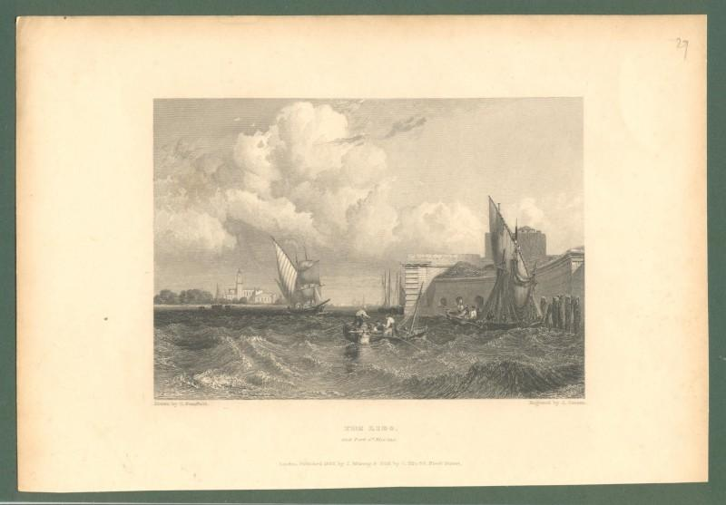 "VENEZIA 1832. ""THE LIDO AND PORT S.t NICOLAS"". Incisione di J. Cousen. Londra 1832."