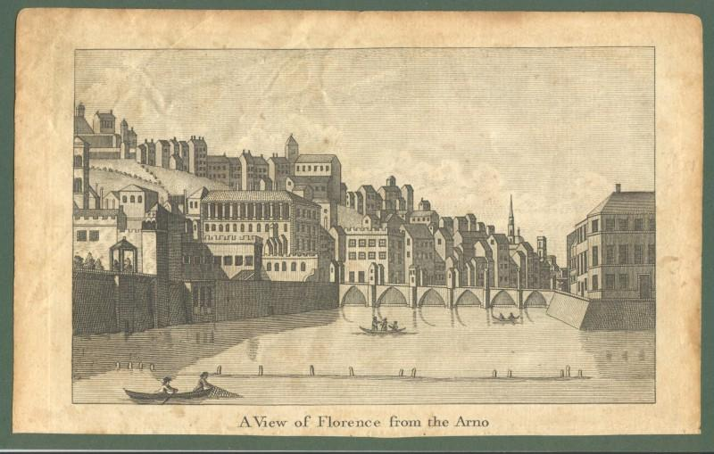 "FIRENZE, inizio 1800. ""A view of Florence from the Arno"". Incisione all'acquaforte."
