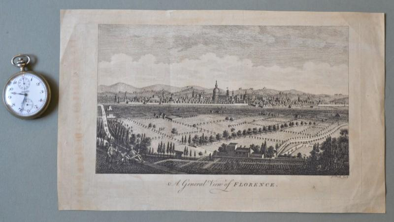 "FIRENZE. Acquaforte '700. ""A GENERAL VIEW OF FLORENCE"". Bella acquaforte, impressa su carta vergellata..."