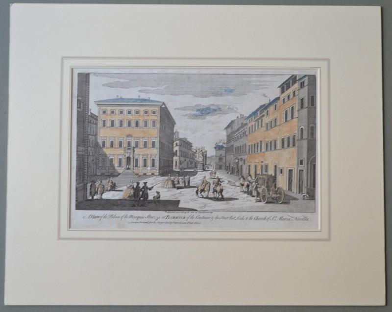"FIRENZE. Acquaforte del '700. ROBERT SAYER (1725 - 1794). "" A VIEW of the palce of the Marquis Strozzi at FLORENCE..."""