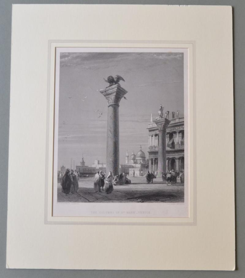 "VENEZIA. ""THE COLUMNS OF St MARK VENICE"". Finissima incisione di J. B. Allen. Londra, circa 1850."