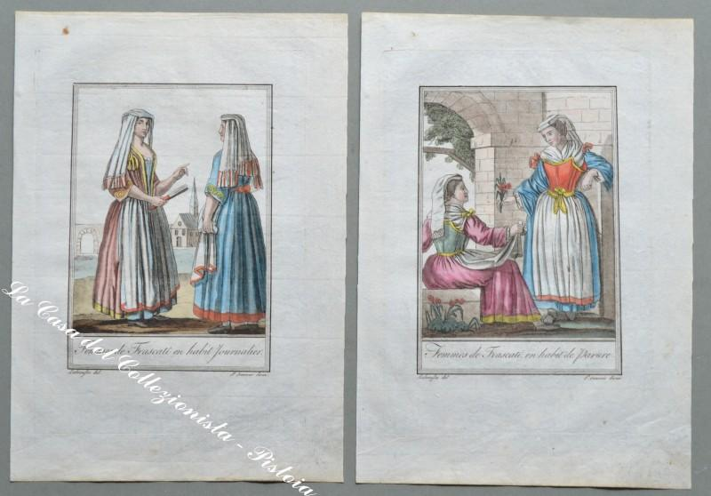 "LAZIO – FRASCATI, costumi. ""Femmes de Frascati en habit de parure"". Fine incisione in rame colorata all'epoca."