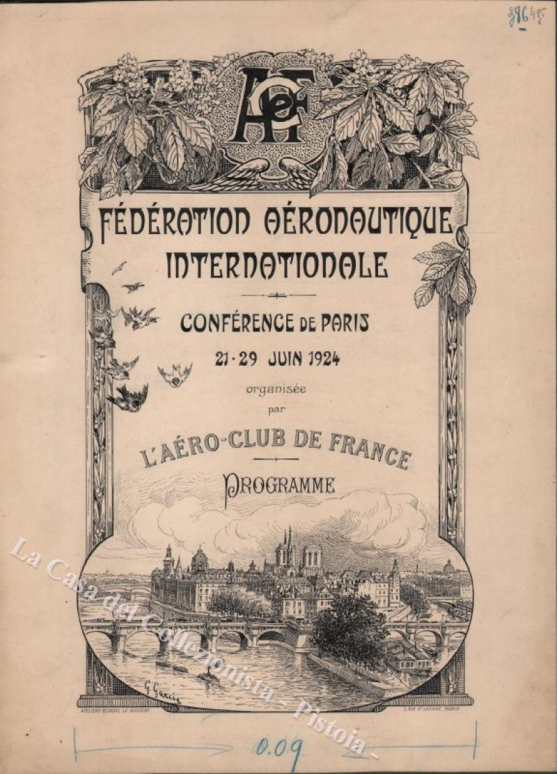 "AVIAZIONE – DISEGNO ORIGINALE A CHINA. ""FEDERATION AERONAUTIQUE INTERNATIONALE. Conference de Paris 21 – 29 juin 1924..."
