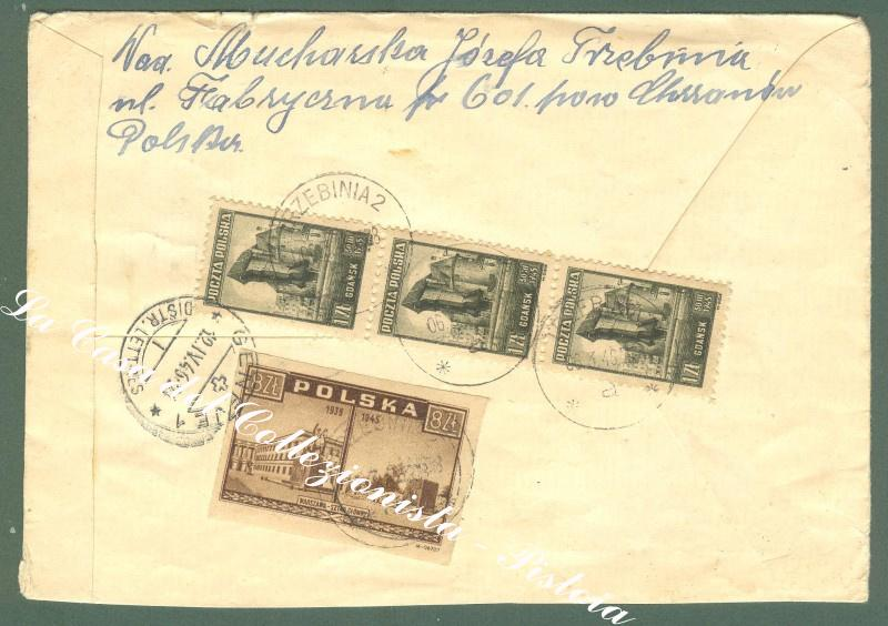 POLAND, POLONIA. Registred cover to Ginevra (Svizzera), 1946.