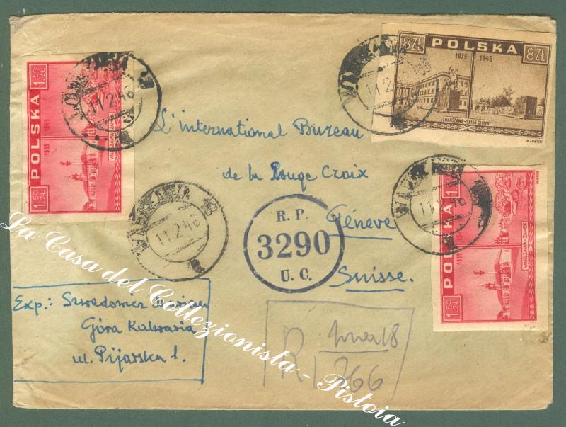 POLONIA, POLAND. Registered cover to Ginevra (Svizzera).