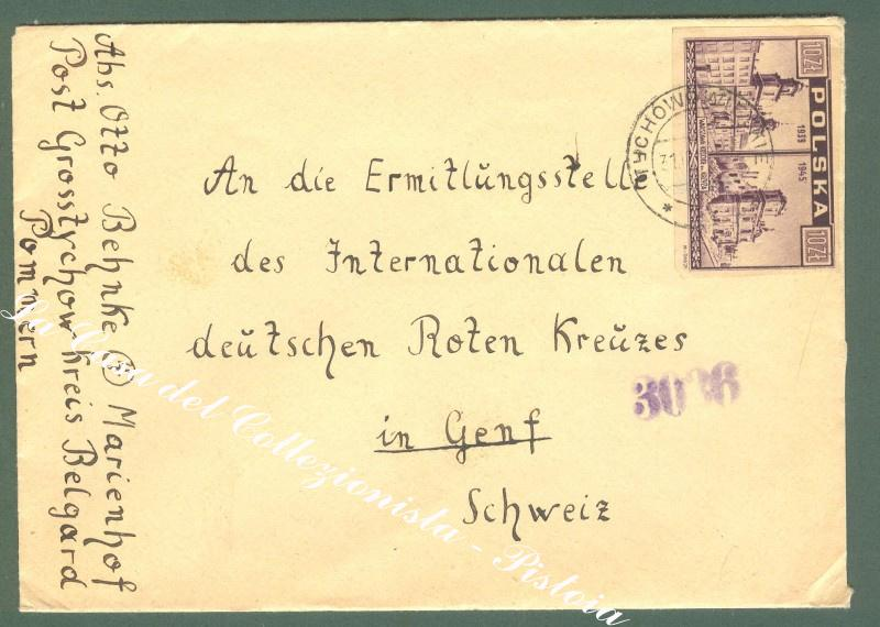 Poland, Polonia. Cover to Schweiz, circa 1946.
