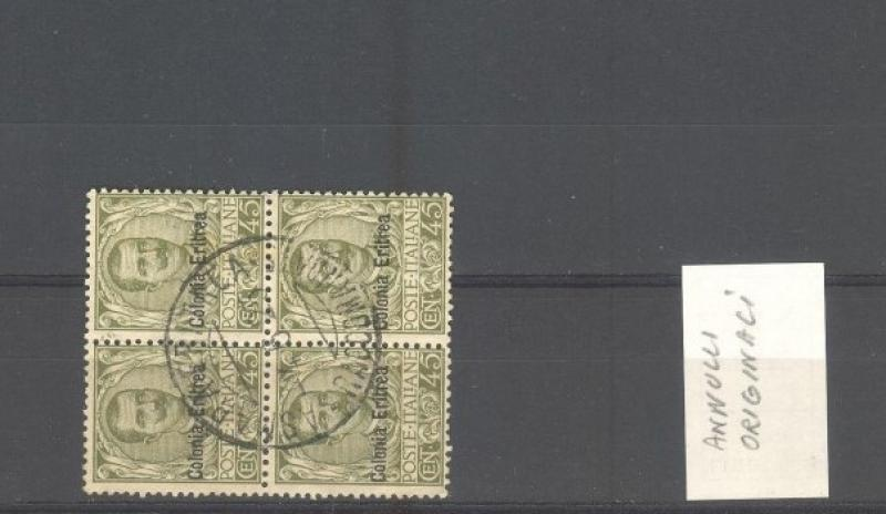 Colonie. ERITREA 1903. Quartina usata cent. 45 oliva.