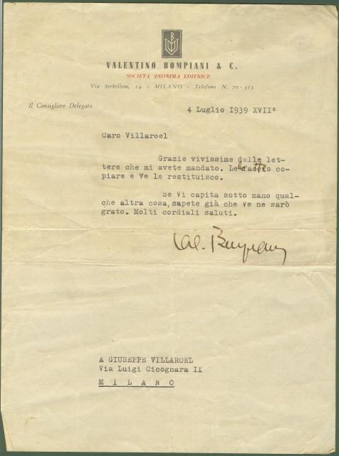 BOMPIANI VALENTINO  (autografo)