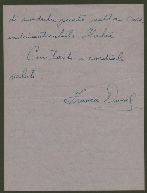 DUVAL FRANCA (New York 1925). Celebre cantante lirica, soprano. Lettera s.d. da New York diretta al gioranalista Carlo Giovetti.