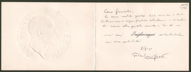 FALCONE LUCIFERO dei Marchesi di Aprigliano (Crotone 1898 '– Roma 1997).