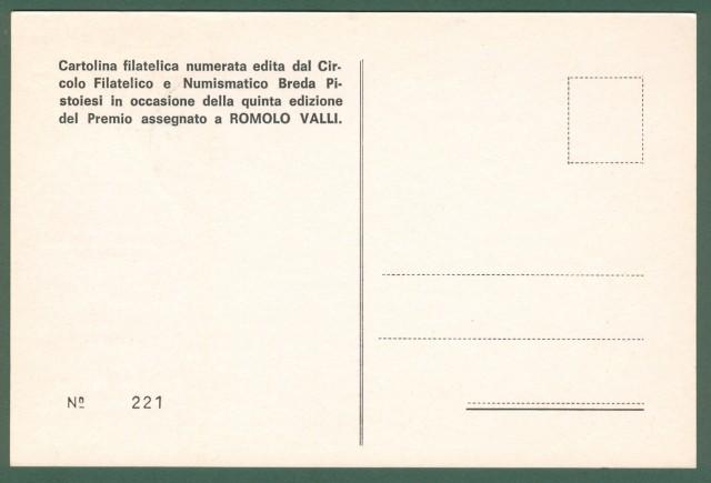 VALLI ROMOLO (R. Emilia 1925 - Roma 1980). Attore italiano. Firma autografa al recto di cartolina numerata edita per il premio Vallecorsi del 1976.