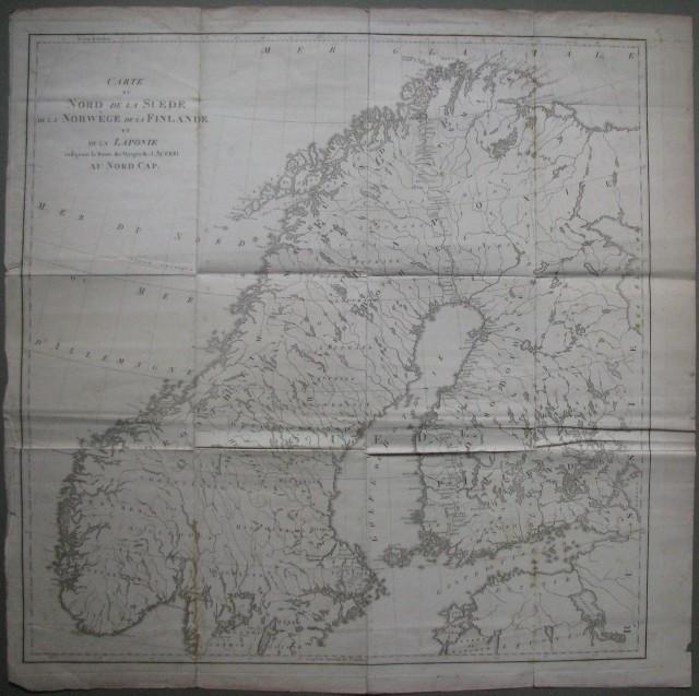 NORD EUROPA - VIAGGI, Carte de Nord de la Suede, de la Norvege, de la Finlande et de la Laponie indicuant la Route des Voyages de J.Acerbi au Nord Cap.