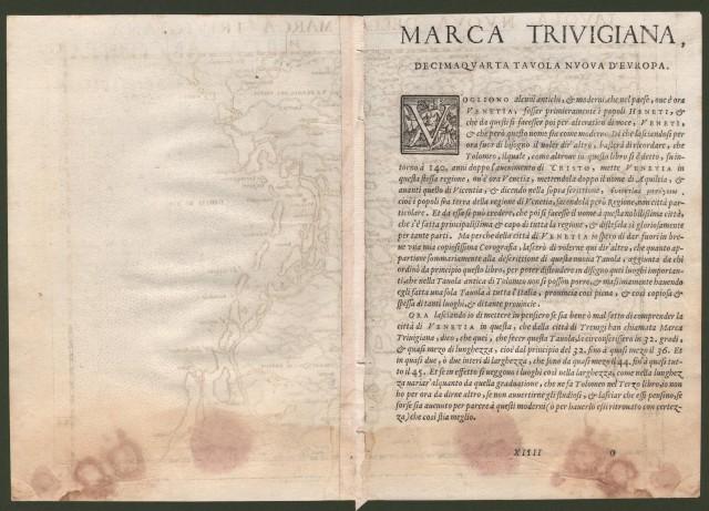 Veneto - Treviso. MARCA TRIVIGIANA. Decima quarta tavola nuova d'Europa.