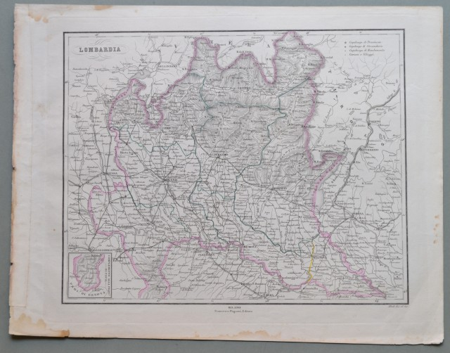 LOMBARDIA. Bella carta dai confini colorati raffigurante l'intera regione e parte del Veneto.