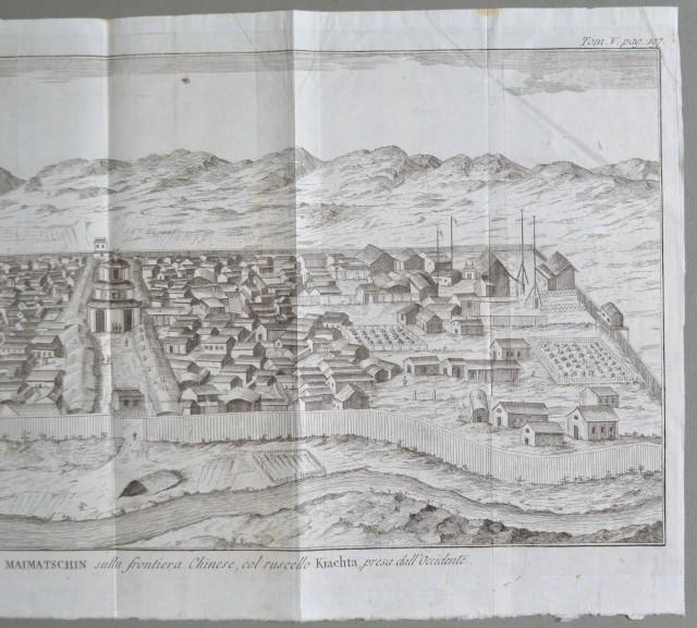 CINA - SIBERIA. Veduta della città di MAIMATSCHIN sulla frontiera Chinese, col ruscello Kiachta, presa dall'Occidente. Grande incisione all'acquaforte