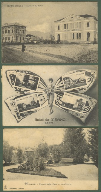 MEANO, Belluno. Tre cartoline d'epoca viaggiate tra 1911-1941