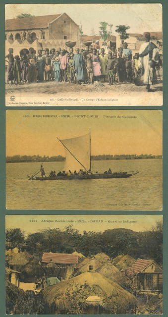 SENEGAL. Africa occidentale. Tre cartoline d'epoca non viaggiate, circa 1910.