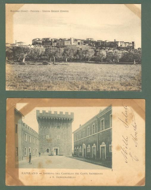 Toscana. RAPOLANO, Siena. Due cartoline d'epoca (una viaggiata nel 1900).