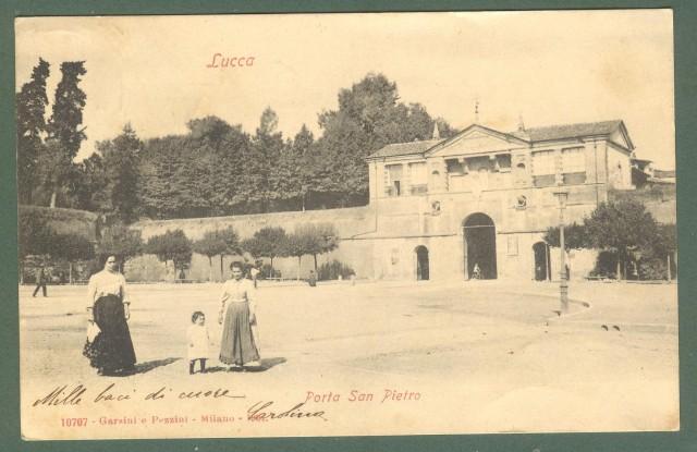 Toscana. LUCCA. Posta S. Pietro. Cartolina d'epoca viaggiata nel 1906.