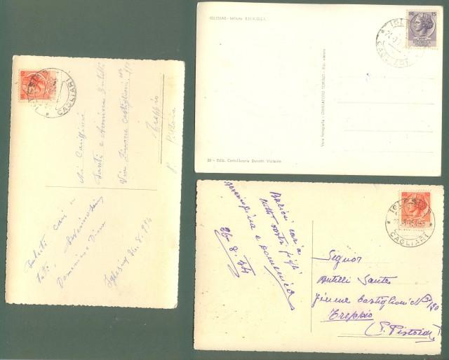 Sardegna. IGLESIAS, Cagliari. Tre cartoline lucide formato grande viaggiate nel 1954 - 1958.