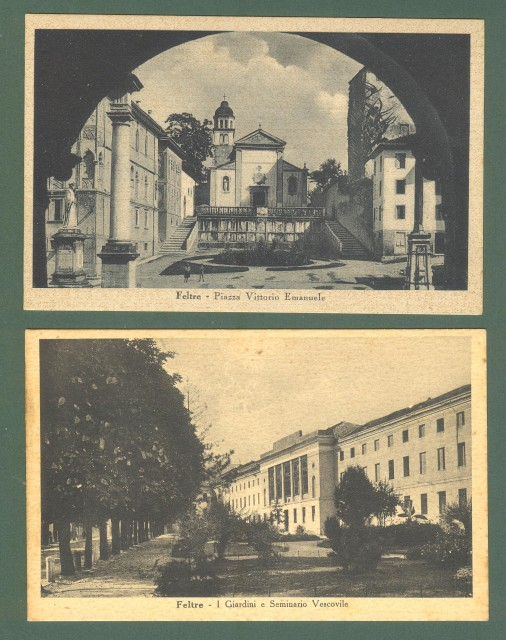 Veneto. FELTRE, Belluno. Due cartoline d'epoca non viaggiate, circa 1940.