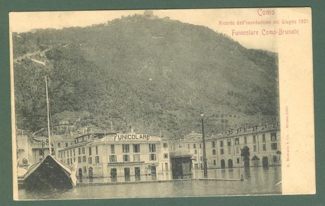 Lombardia. COMO. Ricordo dell'inondazione nel Giugno 1901. Funicolare Como -Brunate.