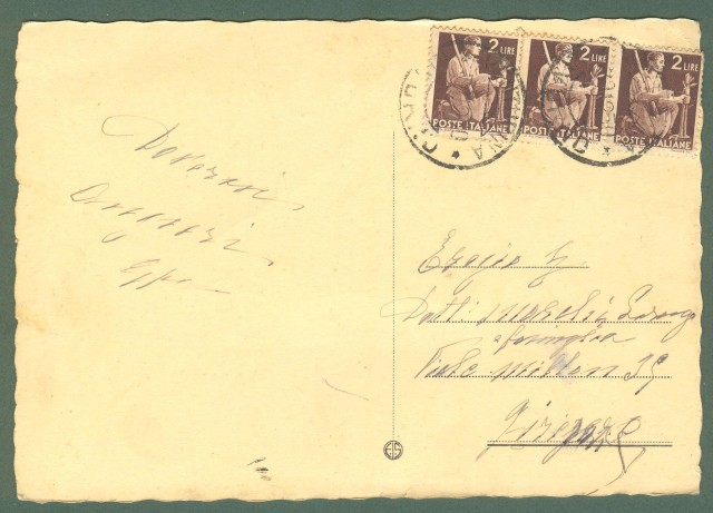 Toscana. VENTURINA, Livorno. Via Vittorio Veneto. Cartolina d'epoca viaggiata nel 1950
