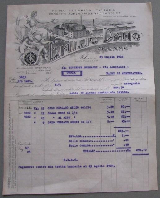 MILANO-LAMBRATE. Vecchia lettera (anno 1924) con intestazione EMILIO DAHO' FABBRICA PRODOTTI ALIMENTARI DIETETICI