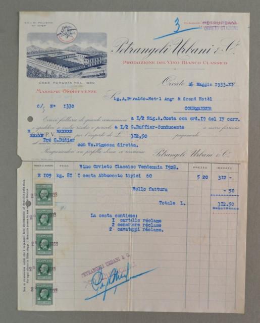 Umbria. ORVIETO. Vecchia fattura anno 1933. VINI PETRANGELI.
