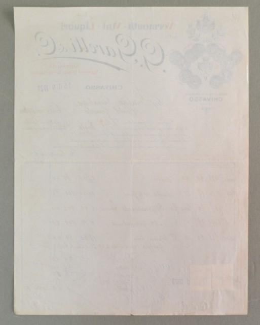 Piemonte. CHIVASSO, TORINO. Vecchia fattura 1923. VINI e LIQUORI GARETTI.