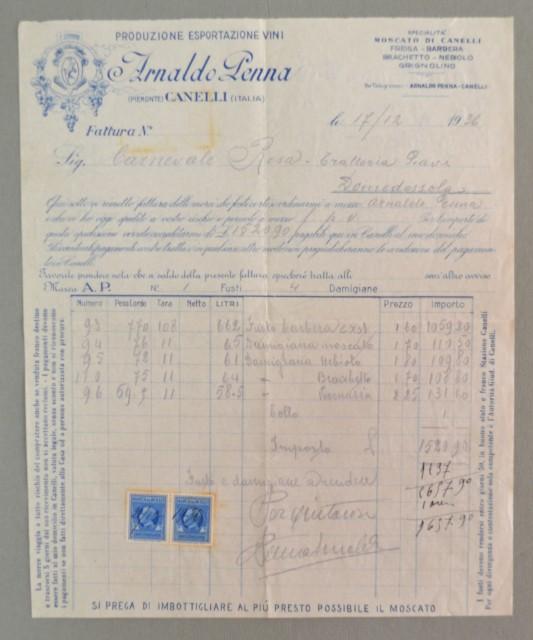 Piemonte. CANELLI, ASTI. Vecchia fattura anno 1936. VINI ARNALDO PENNA.