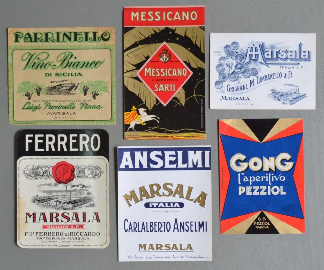 VINO MARSALA. APERITIVI. Sei etichette per bottiglie. Anni '20/'30.