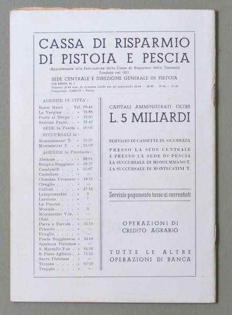 LIRICA, PISTOIA. Città di Pistoia , 5'° Stagione Lirica, anno 1952. Gioconda di Ponchielli e Tosca di Puccini. Numero Unico illustrato.
