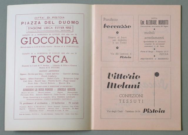 LIRICA, PISTOIA. Città di Pistoia, 5'° Stagione Lirica, anno 1952. Gioconda di Ponchielli e Tosca di Puccini. Numero Unico illustrato.