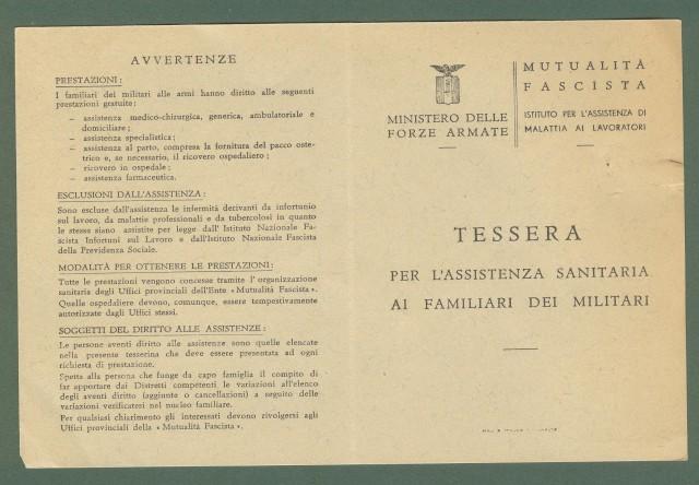 REP. SOCIALE ITALIANA. Tessera per assistenza sanitaria ai familiari dei militari