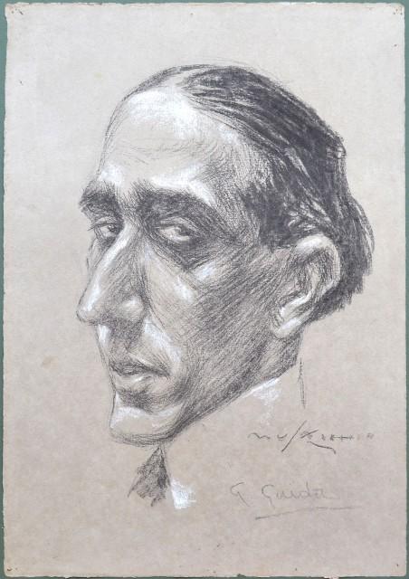 GUIDO GUIDA (Trapani 1897 '– Roma 1969). Illustre medico italiano. Nel 1935 , in collaborazione con Guglielmo Marconi, fondò il CIRM (Centro Internazionale Radio Medico). Ritratto caricaturale realizzato dal vivo. Firmato MUSACCHIO ed autografato dal