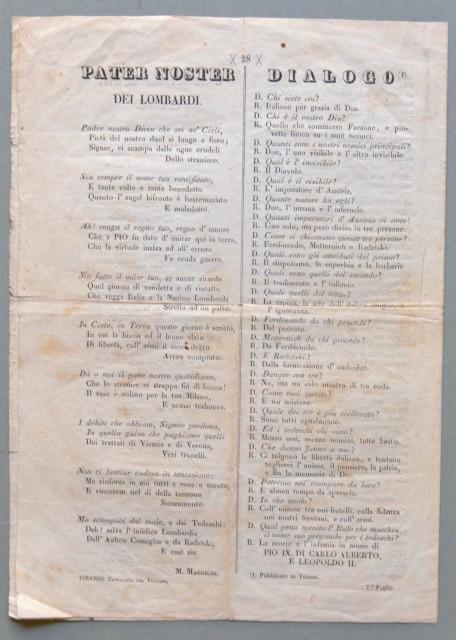 GESUITI - RISORGIMENTO. Bifolio di 4 pagine, databile al 1848. Contiene: AGONIA DEI GESUITI, PROTESTA DEL POPOLO ROMANO, LE ULTIME ORE DEL GESUISMO IN ROMA, L'AGONIA DEI GESUITI...