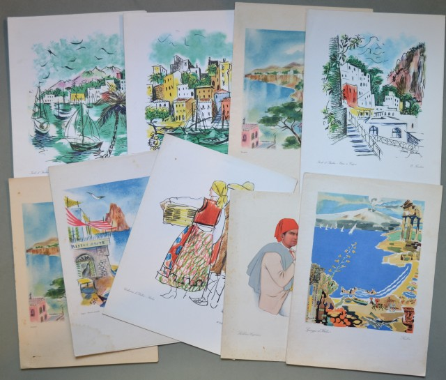 MENU'. Insieme di 9 pezzi diversi (anni 1952-1963) delle navi Vespucci, Conte Biancamano, Giulio Cesare, Augustus.
