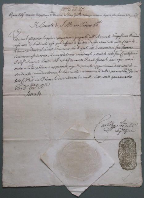 Piemonte - documento manoscritto del '700. Attestato d'aver esercitato l'attività di giudice in Valenza. Torino 1748.