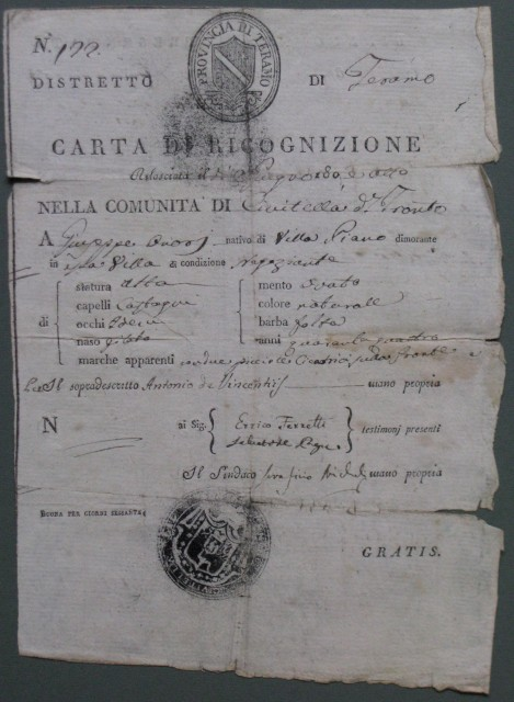 CARTA DI RICOGNIZIONE. Documento a stampa completato a mano del 1808
