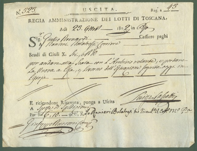 GIOCO DEL LOTTO. Toscana. Mandato di pagamento a favore del corriere per il trasporto delle giocate e delle estrazioni.