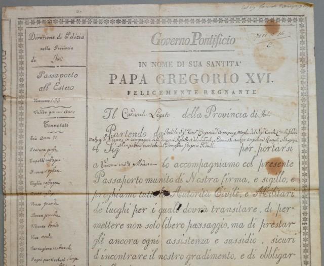 PASSAPORTO. GOVERNO PONTIFICIO. Documento di cm 33x40 rilasciato a Forlì il 12 settembre 1840.