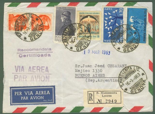 Repubblica. Aerogramma. Lettera raccomandata del 16.3.1963 per Buenos Aires.