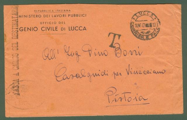 Repubblica. Lettera a carico del 10.7.1947 da Lucca a Pistoia.