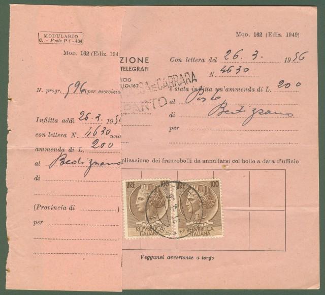 MULTA. Modello 162 delle Poste, per un'ammenda a impiegato postale, del 31.3.1956.