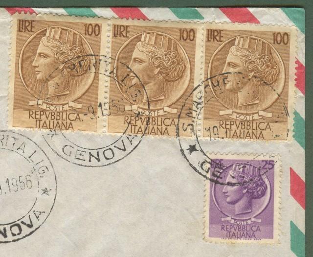 Repubblica. AEROGRAMMA. Lettera raccomandata del 19.9.1956 da S. Margherita Ligure a Buenos Aires.