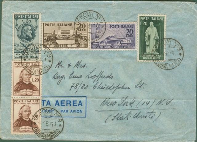 REPUBBLICA * AEREOGRAMMA - 03.08. 1950 da Genova per New York.