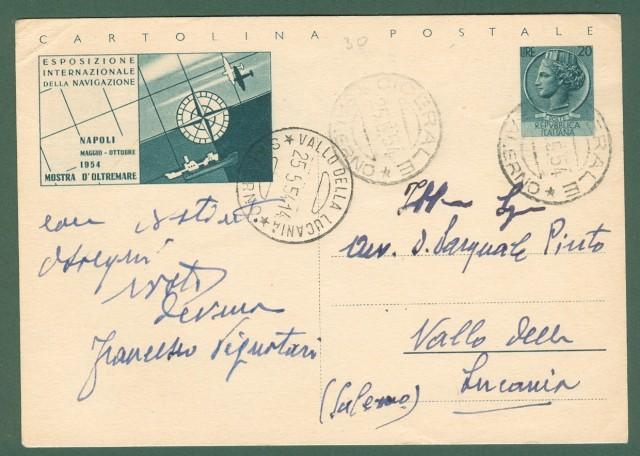 CARTOLINA POSTALE da lire 20, ESPOSIZIONE INTERNAZIONALE DELLA NAVIGAZIONE NAPOLI 1954. Usata 25.5.1954.