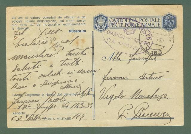 Storia postale Regno. SECONDA GUERRA. POSTA MILITARE 163  su cartolina in franchigia del 06.06.1943.